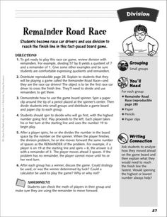 Remainder Road Race (Division game): Division Activity} - Printables
