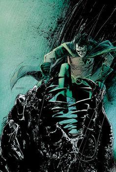 Robin vs Killer Croc byBill Sienkiewicz