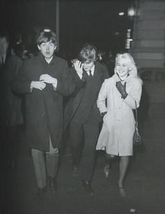 John, Paul & Cynthia after The Beatles made their first Ed Sullivan appearance in NYC, Feb. 1964