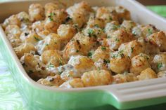The tastiest Tater-Tot Casserole! Oh so good! I did add a pinch of nutmeg to the ground turkey and I used white cheeses instead of cheddar. Yum!