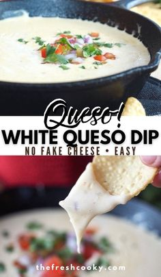 Who doesn't love creamy, white queso blanco or white queso cheese dip? This restaurant style, no velveeta cheese, easy to make cheese dip recipe from The Fresh Cooky is perfect for a game day appetizer, goes great with any Mexican food and comes together quickly. #thefreshcooky #quesocheesedip #quesoblanco Quick Appetizers, Quick Snacks, Appetizer Recipes, Cheese Dip Recipes, Queso Cheese, Velveeta, Creamy White, The Fresh, Mexican Food Recipes