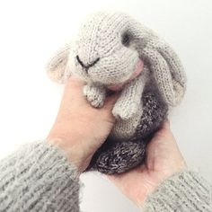 Crochet Amigurumi Rabbit Patterns Ravelry: Holland Lop Rabbit pattern by Claire Garland - This is a homage to a little grey lop-eared bunny that we used to have - she was called Nibbles and she was indeed this tiny when we brought her home… Crochet Amigurumi, Crochet Toys, Knit Crochet, Crochet Rabbit, Ravelry Crochet, Crochet Teddy, Crochet Baby, Free Crochet, Knitting Needles