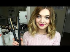 How to Curl Short/Medium Length Hair with Straighteners | J4mieJohnston - YouTube