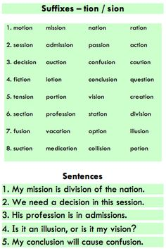 Suffixes -tion and -sion