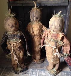 primitive scarecrows designed and handmade by Seasonal Prims
