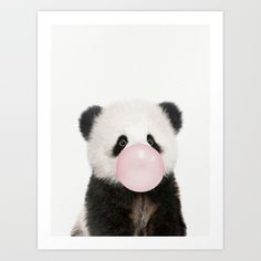 Bubble Gum Panda Bear Art Print by Amy Peterson Art Studio - X-Small Cute Panda Wallpaper, Dog Wallpaper, Cute Wallpaper Backgrounds, Disney Wallpaper, Panda Wallpapers, Cute Wallpapers, Baby Illustration, Illustrations, Cute Little Animals