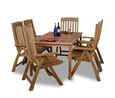 Amazonia Teak Zurich 7-Piece Teak Rectangular Dining Set by Amazonia Teak. $1863.73. 1 rectangular table 35w x 59d x 29h 6 position chairs 26w x 24lx43h. Some assembly required. 7 individual pieces. Free ferons wood sealer/preservative for longest durability. Penetrating oil that works great against the effects of air pollution salt air, and mildew growth. For best protection, perform this maintenance every season or as often as desired. Color: light brown. Great Quality,...