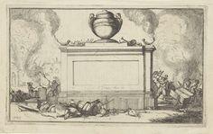 Isaac Sorious | Reeks van dertien afbeeldingen van de dorpen en kastelen in de provincie Utrecht door de Fransen in 1672 verwoest, Isaac Sorious, 1672 - 1676 | Titelprent voor de reeks van dertien afbeeldingen van de dorpen en kastelen in de provincie Utrecht door de Fransen in 1672 verwoest. De voorstelling toont een onbeschreven cartouche in de vorm van een gedenksteen bekroond met een urn. Op de steen staan twee brandende olielampjes en liggen menselijke botten. Links en rechts de…