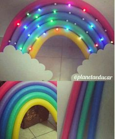 Para uma pool party -Pool noodle rainbow with lights An intricate but REALLY fun-looking display or library decoration idea. Original pin from Planeta Educar (Angola) Trolls Birthday Party, Troll Party, Unicorn Birthday Parties, Diy Rainbow Birthday Party, Unicorn Birthday Decorations, Birthday Balloons, Spring Birthday Party Ideas, Rainbow Unicorn Party, Rainbow Parties