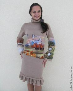 """Платья ручной работы. Ярмарка Мастеров - ручная работа """" Стая белых журавлей возвращалась домой ..."""". Handmade."""