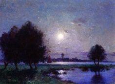 Banks of the Loire in Moonlight (Ferdinand du Puigaudeau - )