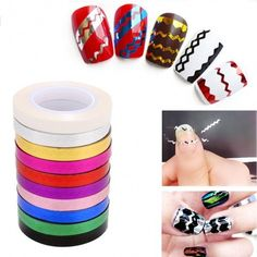 New Women 10 Rollers Striping Tape Line Solid 3D DIY Nail Art Tips Decal Sticker For Nail Polish