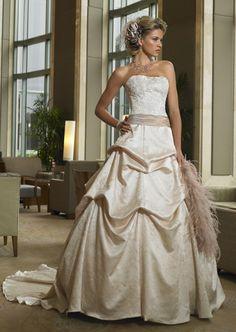 A-line Strapless Ruched Belt Empire Floor-length Sweep-train Chapel train Wedding  Dresses - Discount Wedding Dresses - Wedding Dresses ac76392ed3bb
