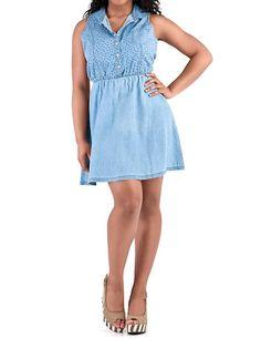 dots: Sleeveless Star Pattern Denim Dress ... $24.80