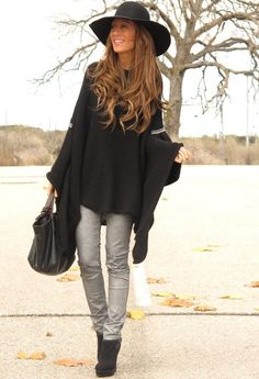 Street Chic! Ponchos are so chic and cozy. Love this look.