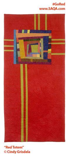 Art quilt by Cindy Grisdela #artquilts #SAQA #GoRedForWomen