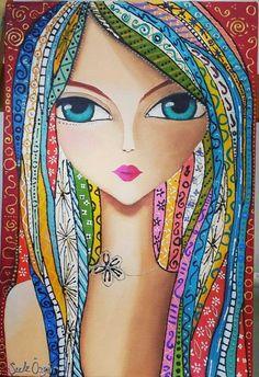 Romi Lerda-- inspiration for when I draw Bridget, my sister Abstract Portrait, Portrait Art, Art Journal Inspiration, Painting Inspiration, Art Sketches, Art Drawings, Frida Art, Whimsical Art, Art Plastique