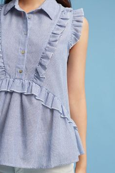 Ruffled Button Top