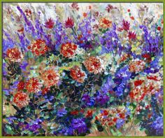 """""""Bed Of Flowers Impressionist Painting"""" by Ginette Callaway, Lovejoy"""