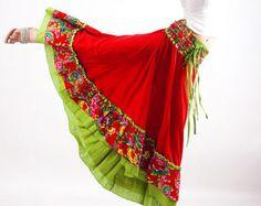 maxi skirt powder blue skirt retro skirt linen by xiaolizi on Etsy