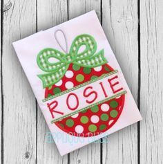 Split Ornament with Bow Digital Christmas Applique Design - Christmas - Holiday - Christmas Embroidery Design - Machine Embroidery by AppliqueBliss on Etsy https://www.etsy.com/listing/258877804/split-ornament-with-bow-digital