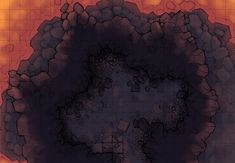 The Dragon's Lair Burrow, a battle map for D&D / Dungeons & Dragons, Pathfinder, Warhammer and other table top RPGs. Tags: cave, underdark, lava, bridge, magma, road, spooky, ruins, mountain, volcano