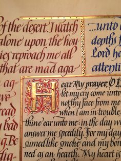 Various italic lettering and gilding on vellum. From various psalms.