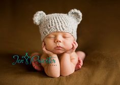 Adorable knitted bear hat!