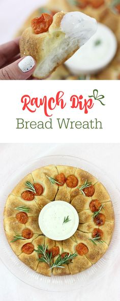 Ranch Dip Bread Wreath that's perfect for sharing this holiday season. So easy to make and delish to enjoy. Make easily with Bridgford Foods Parkerhouse Style Rolls from the freezer and Dannon Yogurt for a quick and tasty dip.
