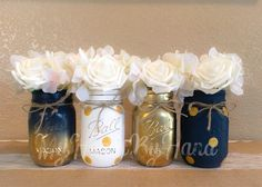 Excited to share the latest addition to my #etsy shop: Nautical Baby Shower Centerpiece, Navy Blue and Gold Mason Jars, Distressed Mason Jars by MyHeartByHand, Boy Birthday and Nursery Decor