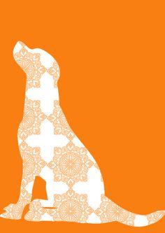 Orange Damask Labrador Retriever Dog Art Print