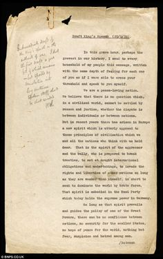 """Long winded! This is what George VI's adviser thought of an early draft of the """"King's Speech"""" announcing the outbreak of World War II, and which shows Britain  ready to declare war on Germany a week before Hitler invaded Poland. The three-page document, recently unearthed after 74 years, is about to go to auction. Maybe Colin Firth ought to buy it as a reminder if his award winning role..."""