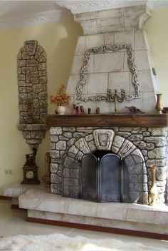 Fireplace Shelves, Fireplace Mantels, Fireplaces, Faux Rock, Hearth And Home, Stone Houses, Interior Design, Treehouses, Playgrounds