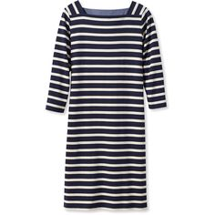 L.L.Bean Mariner Squareneck Dress, Stripe  Misses Petite (715 MXN) ❤ liked on Polyvore featuring dresses, above the knee dress, blue 3 4 sleeve dress, blue striped dress, blue dresses and stripe dress