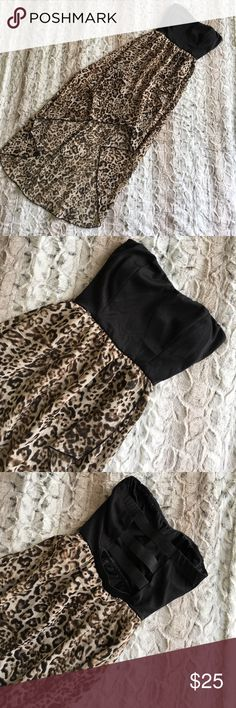 ✨FINAL SALE✨ Hi Low Leopard Dress With back cut out. Adorable and perfect condition accept tear under arm pit that had been sewn 💗 january 7 Dresses High Low