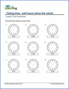 Grade 2 telling time Worksheet on telling time - half hours (draw the clock)