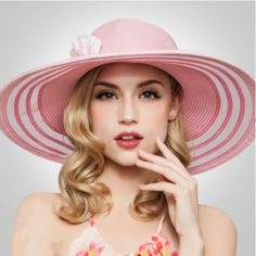 Pink straw hat wide brim rhinestone feather decorative UV package