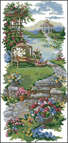 Cross stitch inspiration for landscape quilr Cross Stitch House, Cross Stitch Bird, Simple Cross Stitch, Cross Stitch Flowers, Cross Stitching, Cross Stitch Embroidery, Funny Cross Stitch Patterns, Cross Stitch Charts, Cross Stitch Designs