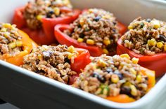 Southwest Stuffed Peppers is easily one of the tastiest Mexican inspired dishes of the year Mexican Dishes, Mexican Food Recipes, New Recipes, Cooking Recipes, Favorite Recipes, Ethnic Recipes, Healthy Food, Healthy Eating, Yummy Food