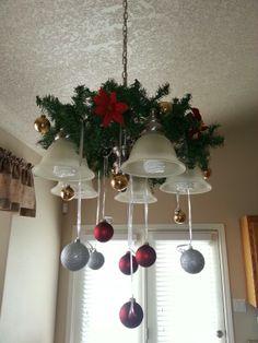 Holiday decor over the kitchen table Christmas Chandelier Decor, Diy Christmas Decorations Easy, Christmas Swags, Christmas Tree Themes, Christmas Centerpieces, Diy Christmas Gifts, Christmas Time, Christmas Crafts, Holiday Decor
