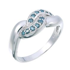 Vir Jewels Sterling Silver Blue Diamond Ring (1/5 CT) In Size 7 * Check out the image by visiting the link.