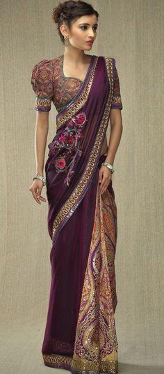 Purple & Floral Design #Saree.