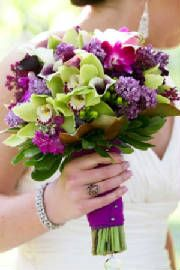Green and purple orchids, lilacs.  Little dark, would add a different color.