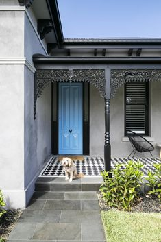 Is your front door in need of a quick facelift? A bold paint colour will give your home exterior a quick and inexpensive refresh. Read on for some fabulous front door colour ideas and inspiration. Porch Tile, Patio Tiles, Old Victorian Homes, Victorian Terrace, Victorian House, Interior Exterior, Exterior Doors, Terrace House Exterior, Exterior Cladding