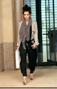 Kardashian--black baggy ankle pants, gray scarf, beige blazer-- there isn't one thing that I do not like about this outfit