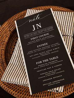 Reception Menu design from Nate Berkus & Jeremiah Brent Wedding
