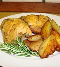 Crispy Rosemary Chicken and Fries. I used boneless skinless chicken and sweet potatoes, to make it a healthier option. Since I was using boneless chicken, I put the potatoes in the oven for 20 minutes before adding the chicken. Easy and tastes great! Turkey Dishes, Turkey Recipes, Chicken Recipes, Dinner Recipes, Food Dishes, Main Dishes, Side Dishes, Cooking Recipes, Healthy Recipes
