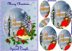 Christmas Robin Redbreast on Craftsuprint designed by Debra Jenkinson - A vintage style Christmas card with a robin, holly, and pine cones on the front of a winter scene of snow and a church. A background of blue with snowflakes - Now available for download!