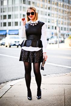 A Lacey Perspective: Staff Party Sparkle Love Fashion, Fashion Outfits, Womens Fashion, Style Icons Inspiration, Leather Peplum Tops, Corporate Chic, Plus Size Fashionista, Office Fashion, Autumn Winter Fashion