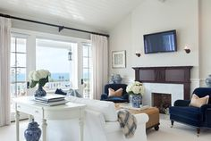 Traditional Beach   Ocean Boulevard - beach-style - Living Room - Orange County - Barclay Butera Interiors